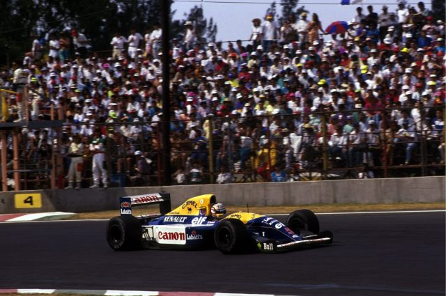 Race winner Nigel Mansell (GBR) Williams FW14B Mexican Grand Prix, Mexico City, 22 March 1992