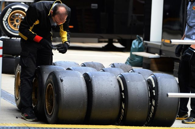 Pirelli tyres and Pirelli tyre engineer. Formula One Testing, Silverstone, England, Day Two, Wednesday, 9 July 2014
