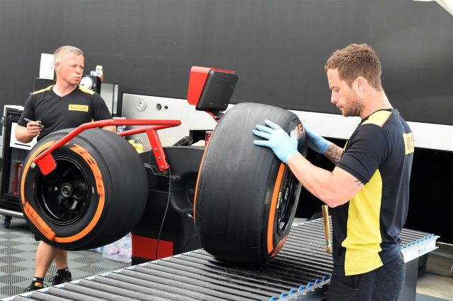 Pirelli tyre preparation area. Formula One World Championship, Rd9, British Grand Prix, Preparations, Silverstone, England, Thursday, 3 July 2014