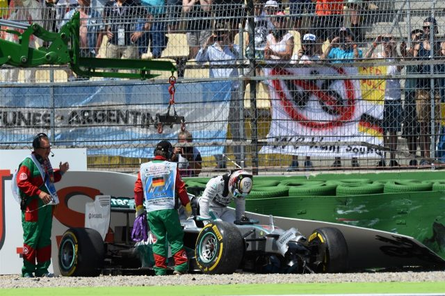 Lewis Hamilton (GBR) Mercedes AMG F1 W05 crashed in Q1. Formula One World Championship, Rd10, German Grand Prix, Qualifying, Hockenheim, Germany, Saturday, 19 July 2014