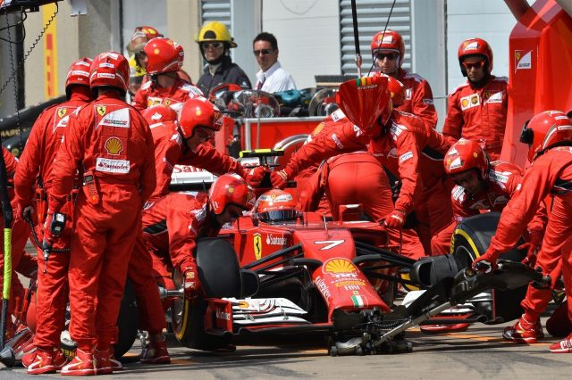 Kimi Raikkonen (FIN) Ferrari F14 T makes a pit stop. Formula One World Championship, Rd7, Canadian Grand Prix, Race Day, Montreal, Canada, Sunday, 8 June 2014