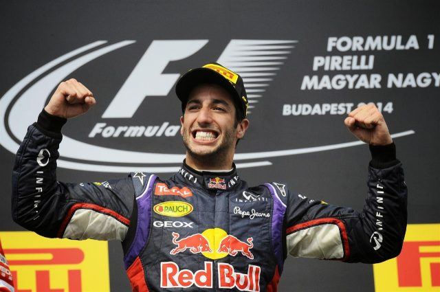 Race winner Daniel Ricciardo (AUS) Red Bull Racing celebrates on the podium. Formula One World Championship, Rd11, Hungarian Grand Prix, Race Day, Hungaroring, Hungary. Sunday, 27 July 2014. © Sutton Images