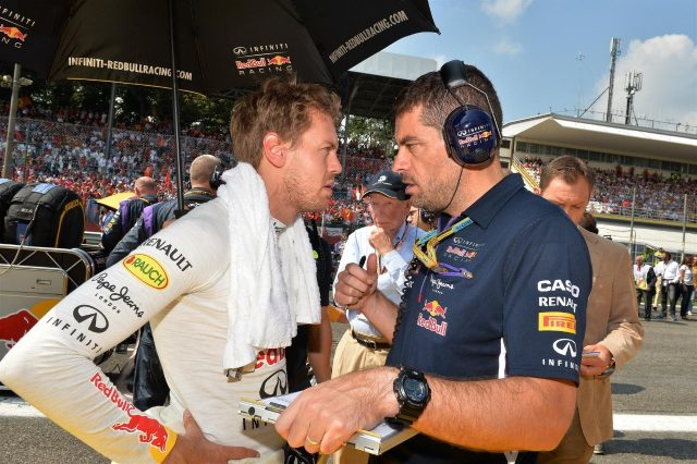 Sebastian Vettel (GER) Red Bull Racing and Guillaume Rocquelin (FRA) Red Bull Racing Race Engineer on the grid. Formula One World Championship, Rd13, Italian Grand Prix, Monza, Italy, Race Day, Sunday, 7 September 2014