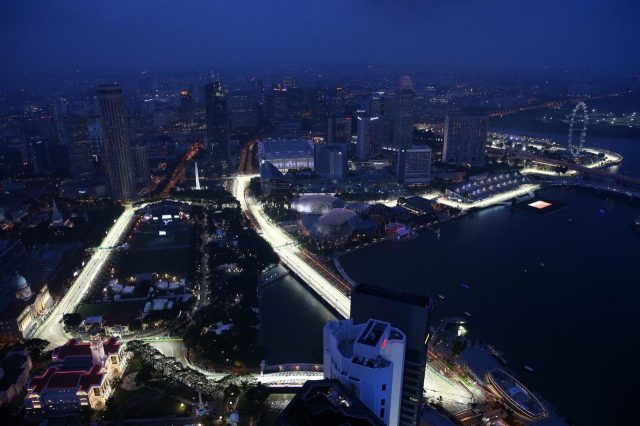 Scenic aerial view. Formula One World Championship, Rd14, Singapore Grand Prix, Marina Bay Street Circuit, Singapore, Practice, Friday, 19 September 2014