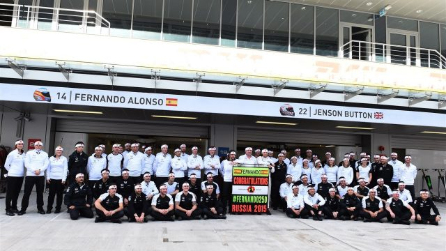 Fernando Alonso (ESP) McLaren celebrates 250 Grands Prix with Eric Boullier (FRA) McLaren Racing Director, Jenson Button (GBR) McLaren and the team at Formula One World Championship, Rd15, Russian Grand Prix, Practice, Sochi Autodrom, Sochi, Krasnodar Krai, Russia, Friday 9 October 2015. &copy&#x3b; Sutton Motorsport Images