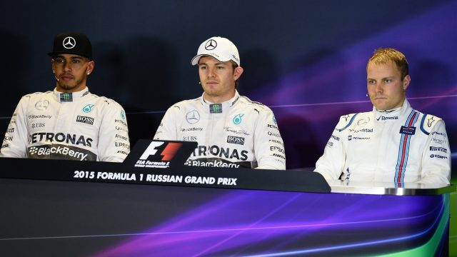 Lewis Hamilton (GBR) Mercedes AMG F1, Nico Rosberg (GER) Mercedes AMG F1 and Valtteri Bottas (FIN) Williams in the press conference at Formula One World Championship, Rd15, Russian Grand Prix, Qualifying, Sochi Autodrom, Sochi, Krasnodar Krai, Russia, Saturday 10 October 2015. &copy&#x3b; Sutton Motorsport Images