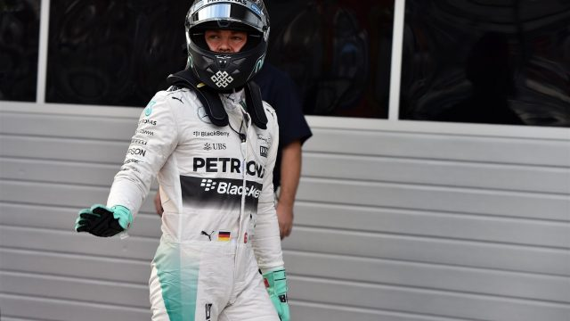 Pole sitter Nico Rosberg (GER) Mercedes AMG F1 celebrates in parc ferme at Formula One World Championship, Rd15, Russian Grand Prix, Qualifying, Sochi Autodrom, Sochi, Krasnodar Krai, Russia, Saturday 10 October 2015. &copy&#x3b; Sutton Motorsport Images