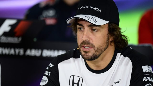 Fernando Alonso (ESP) McLaren in the press conference at Formula One World Championship, Rd19, Abu Dhabi Grand Prix, Preparations, Yas Marina Circuit, Abu Dhabi, UAE, Thursday 26 November 2015. &copy&#x3b; Sutton Motorsport Images