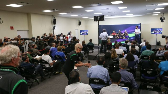 Journalists during the press conference at Formula One World Championship, Rd17, Mexican Grand Prix, Preparations, Circuit Hermanos Rodriguez, Mexico City, Mexico, Thursday 29 October 2015. &copy&#x3b; Sutton Motorsport Images