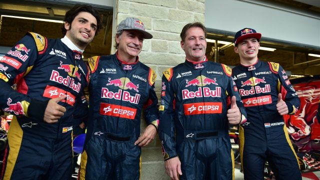 Carlos Sainz (ESP) Scuderia Toro Rosso and Max Verstappen (NDL) Scuderia Toro Rosso with their Fathers Carlos Sainz (ESP) and Jos Veratappen (NDL) at Formula One World Championship, Rd16, United States  Grand Prix, Qualifying, Austin, Texas, USA, Saturday 24 October 2015. &copy&#x3b; Sutton Motorsport Images
