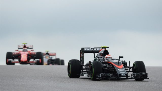 Jenson Button (GBR) McLaren MP4-30 at Formula One World Championship, Rd16, United States  Grand Prix, Race, Austin, Texas, USA, Sunday 25 October 2015. &copy&#x3b; Sutton Motorsport Images