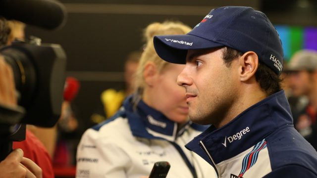 Felipe Massa (BRA) Williams talking to the media at Formula One World Championship, Rd16, United States  Grand Prix, Qualifying, Austin, Texas, USA, Saturday 24 October 2015. &copy&#x3b; Sutton Motorsport Images