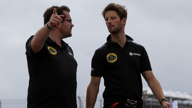 Romain Grosjean (FRA) Lotus F1 walks the track at Formula One World Championship, Rd16, United States  Grand Prix, Preparations, Austin, Texas, USA, Thursday 22 October 2015. &copy&#x3b; Sutton Motorsport Images