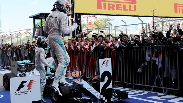 Race winner Lewis Hamilton (GBR) Mercedes AMG F1 celebrates in parc ferme at Formula One World Championship, Rd14, Japanese Grand Prix, Race, Suzuka, Japan, Sunday 27 September 2015. &copy&#x3b; Sutton Motorsport Images