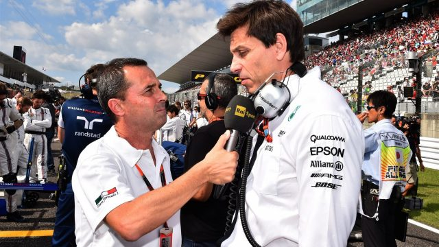 Toto Wolff (AUT) Mercedes AMG F1 Director of Motorsport is interviewed on the grid at Formula One World Championship, Rd14, Japanese Grand Prix, Race, Suzuka, Japan, Sunday 27 September 2015. &copy&#x3b; Sutton Motorsport Images