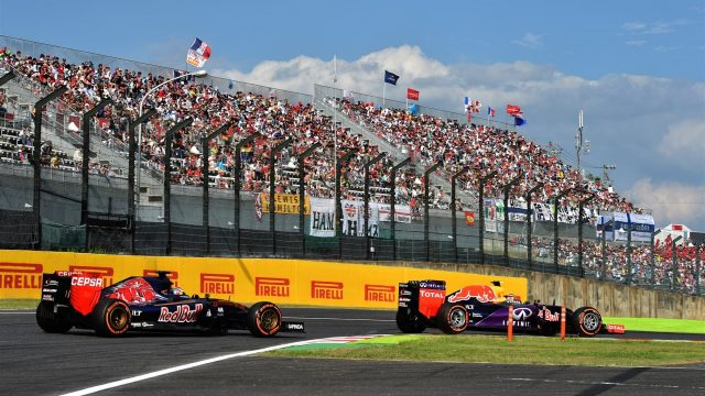 Daniil Kvyat (RUS) Red Bull Racing RB11 leads Max Verstappen (NDL) Scuderia Toro Rosso STR10 at Formula One World Championship, Rd14, Japanese Grand Prix, Race, Suzuka, Japan, Sunday 27 September 2015. &copy&#x3b; Sutton Motorsport Images