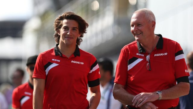 Roberto Merhi (ESP) Marussia and John Booth (GBR) Marussia Team Principal at Formula One World Championship, Rd10, Hungarian Grand Prix, Practice, Hungaroring, Hungary, Friday 24 July 2015. &copy&#x3b; Sutton Motorsport Images