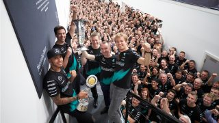 Title celebrations for Mercedes in Brackley and Brixworth