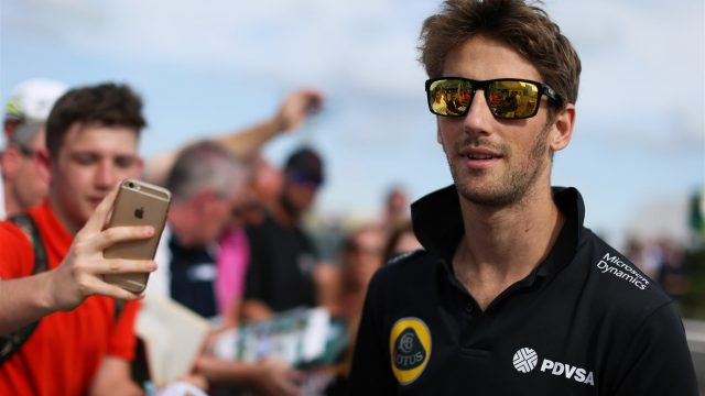 Romain Grosjean (FRA) Lotus F1 at the drivers autograph session at Formula One World Championship, Rd9, British Grand Prix, Qualifying, Silverstone, England, Saturday 4 July 2015. &copy&#x3b; Sutton Motorsport Images