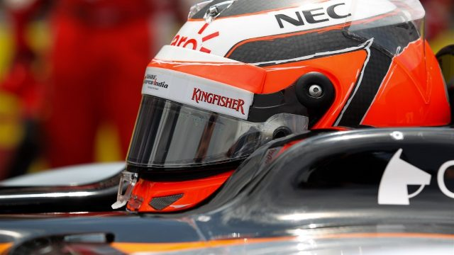 Nico Hulkenberg (GER) Force India VJM08 on the grid at Formula One World Championship, Rd18, Brazilian Grand Prix, Race, Interlagos, Sao Paulo, Brazil, Sunday 15 November 2015. &copy&#x3b; Sutton Motorsport Images