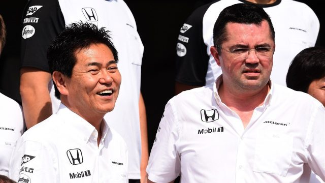 Yasuhisa Arai (JPN) Head of Honda Motorsport and Eric Boullier (FRA) McLaren Racing Director at Formula One World Championship, Rd18, Brazilian Grand Prix, Preparations, Interlagos, Sao Paulo, Brazil, Thursday 12 November 2015. &copy&#x3b; Sutton Motorsport Images