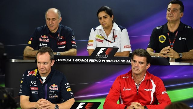 (L to R): Franz Tost (AUT) Scuderia Toro Rosso Team Principal, Monisha Kaltenborn (AUT) Sauber Team Prinicpal, Federico Gastaldi (ARG) Lotus F1 Team Deputy Team Principal, Paul Monaghan (GBR) Red Bull Racing Chief Engineer and Graeme Lowdon (GBR) Chief Executive Officer Marussia in the Press Conference at Formula One World Championship, Rd18, Brazilian Grand Prix, Practice, Interlagos, Sao Paulo, Brazil, Friday 13 November 2015. &copy&#x3b; Sutton Motorsport Images