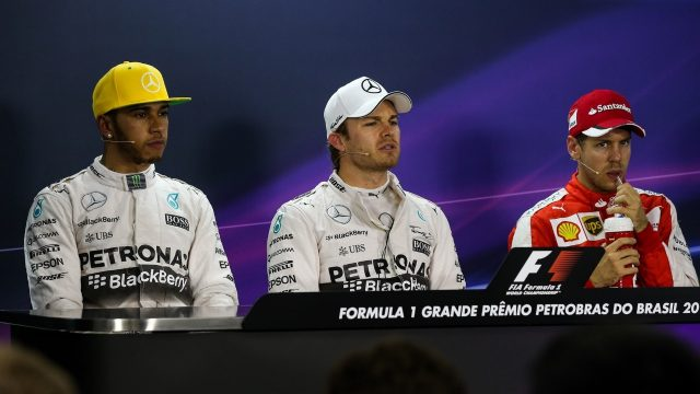 (L to R): Lewis Hamilton (GBR) Mercedes AMG F1, pole sitter Nico Rosberg (GER) Mercedes AMG F1 and Sebastian Vettel (GER) Ferrari in the Press Conference at Formula One World Championship, Rd18, Brazilian Grand Prix, Qualifying, Interlagos, Sao Paulo, Brazil, Saturday 14 November 2015. &copy&#x3b; Sutton Motorsport Images