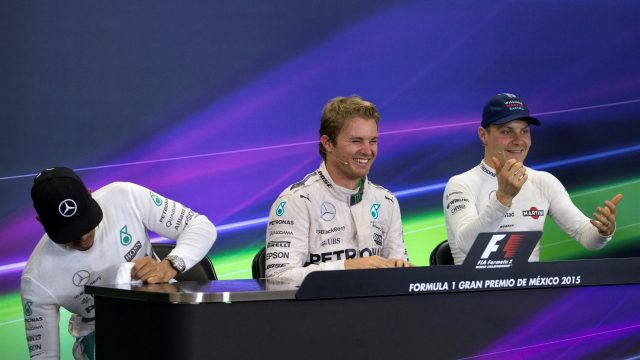 (L to R): Lewis Hamilton (GBR) Mercedes AMG F1, Nico Rosberg (GER) Mercedes AMG F1 and Valtteri Bottas (FIN) Williams in the Press Conference at Formula One World Championship, Rd17, Mexican Grand Prix, Race, Circuit Hermanos Rodriguez, Mexico City, Mexico, Sunday 1  November 2015. &copy&#x3b; Sutton Motorsport Images