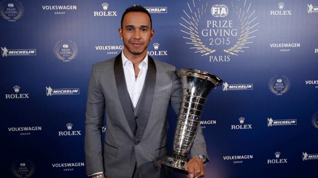 Mercedes' Lewis Hamilton at the FIA Prize Giving Gala 2015, Paris, December 4, 2015 &copy&#x3b; FIA
