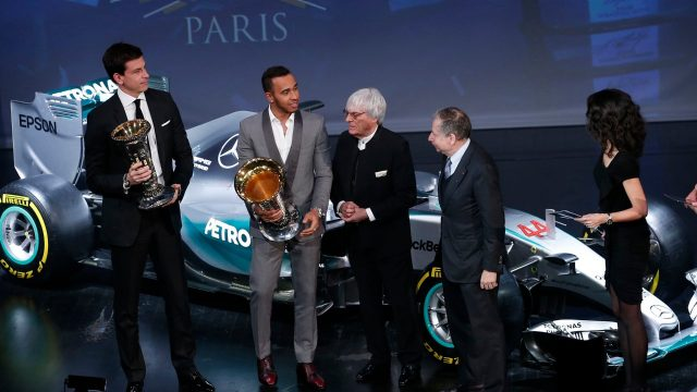 Mercedes' Lewis Hamilton and Toto Wolff, with FIA President Jean Todt and Formula One group CEO Bernie Ecclestone, portrait during the FIA Prize Giving 2015 on December 4th 2015, at Paris, France. &copy&#x3b; FIA