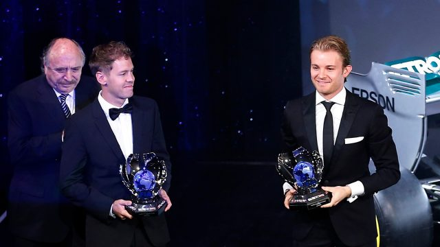 Sebastian Vettel (GER) Ferrari and Nico Rosberg (GER) Mercedes AMG F1 at FIA Prize Giving Awards Ceremony 2015, Paris, France, 4 December 2015. &copy&#x3b; FIA