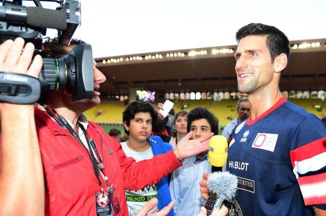 Novak Djokovic (SER) at World Stars Football Match, Stade Luis II, Monaco, Tuesday 19 May 2015.