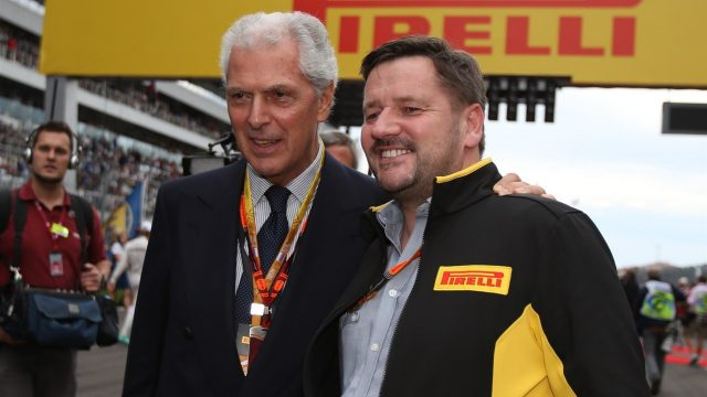 Marco Tronchetti Provera (ITA) Pirelli President and Paul Hembery (GBR) Pirelli Motorsport Director on the grid at Formula One World Championship, Rd15, Russian Grand Prix, Race, Sochi Autodrom, Sochi, Krasnodar Krai, Russia, Sunday 11 October 2015. &copy&#x3b; Sutton Motorsport Images