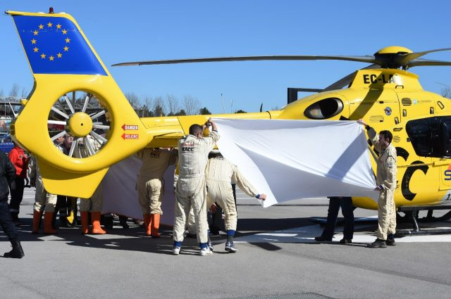Fernando Alonso (ESP) McLaren is flown by helicopter to hospital after crashing at Formula One Testing, Day Four, Barcelona, Spain, 22 February 2015.