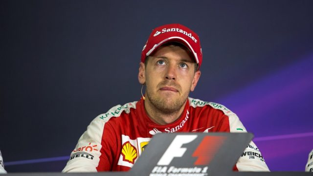 Sebastian Vettel (GER) Ferrari in the post race Press Conference at Formula One World Championship, Rd2, Malaysian Grand Prix, Race, Sepang, Malaysia, Sunday 29 March 2015. &copy&#x3b; Sutton Motorsport Images