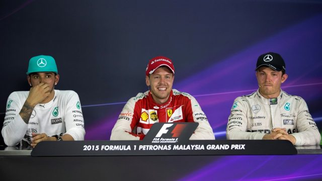 (L to R): Lewis Hamilton (GBR) Mercedes AMG F1, Sebastian Vettel (GER) Ferrari and Nico Rosberg (GER) Mercedes AMG F1 in the post race Press at Formula One World Championship, Rd2, Malaysian Grand Prix, Race, Sepang, Malaysia, Sunday 29 March 2015. &copy&#x3b; Sutton Motorsport Images