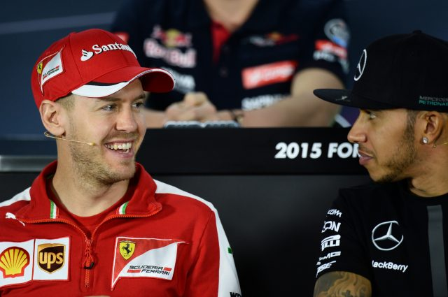 Sebastian Vettel (GER) Ferrari and Lewis Hamilton (GBR) Mercedes AMG F1 during the press conference at Formula One World Championship, Rd1, Australian Grand Prix, Preparations, Albert Park, Melbourne, Australia, Thursday 12 March 2015. &copy&#x3b; Sutton Motorsport Images