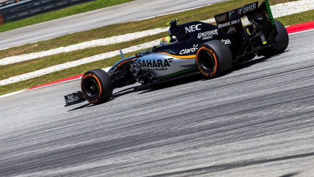 Sergio Perez (MEX) Force India VJM08 at Formula One World Championship, Rd2, Malaysian Grand Prix, free practice 3, Sepang, Malaysia, Saturday 28  March 2015. &copy&#x3b; Sutton Motorsport Images