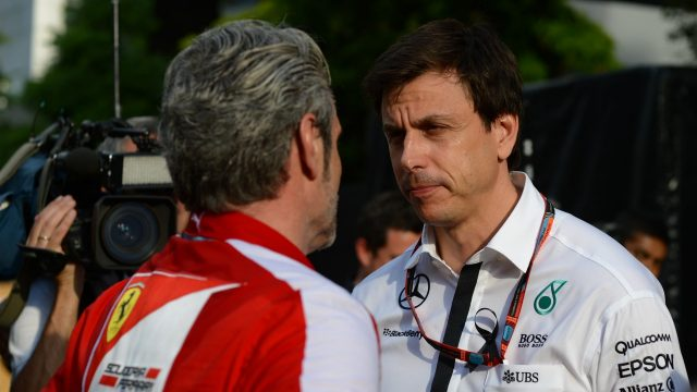 Maurizio Arrivabene (ITA) Ferrari Team Principal and Toto Wolff (AUT) Mercedes AMG F1 Director of Motorsport	 at Formula One World Championship, Rd2, Malaysian Grand Prix, Race, Sepang, Malaysia, Sunday 29 March 2015. &copy&#x3b; Sutton Motorsport Images