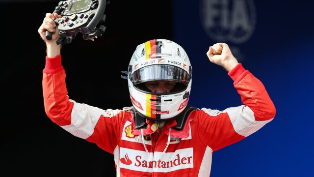 Race winner Sebastian Vettel (GER) Ferrari celebrates in parc ferme at Formula One World Championship, Rd2, Malaysian Grand Prix, Race, Sepang, Malaysia, Sunday 29 March 2015. &copy&#x3b; Sutton Motorsport Images