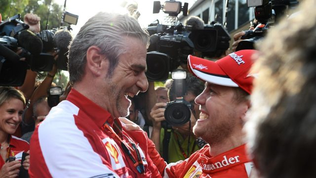 Maurizio Arrivabene (ITA) Ferrari Team Principal andSebastian Vettel (GER) Ferrari at Formula One World Championship, Rd2, Malaysian Grand Prix, Race, Sepang, Malaysia, Sunday 29 March 2015. &copy&#x3b; Sutton Motorsport Images