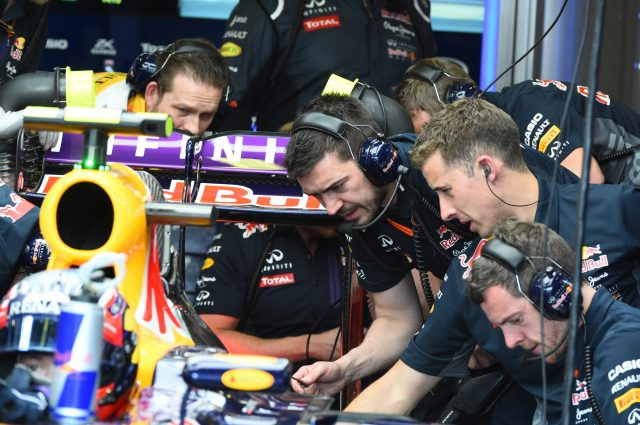 Red Bull Racing RB11 mechanics checking the Renault engine at Formula One World Championship, Rd1, Australian Grand Prix, Qualifying, Albert Park, Melbourne, Australia, Saturday 14 March 2015. &copy&#x3b; Sutton Motorsport Images