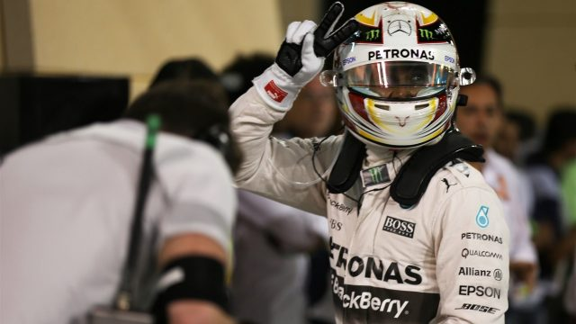 Pole sitter Lewis Hamilton (GBR) Mercedes AMG F1 celebrates in parc ferme at Formula One World Championship, Rd4, Bahrain Grand Prix Qualifying, Bahrain International Circuit, Sakhir, Bahrain, Saturday 18  April 2015. &copy&#x3b; Sutton Motorsport Images