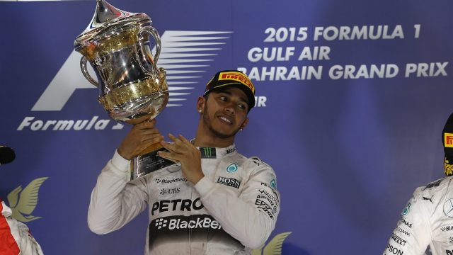 Race winner Lewis Hamilton (GBR) Mercedes AMG F1 celebrates with his trophy on the podium at Formula One World Championship, Rd4, Bahrain Grand Prix Race, Bahrain International Circuit, Sakhir, Bahrain, Sunday 19  April 2015. &copy&#x3b; Sutton Motorsport Images