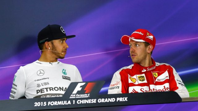 Lewis Hamilton (GBR) Mercedes AMG F1 and Sebastian Vettel (GER) Ferrari in the Press Conference at Formula One World Championship, Rd3, Chinese Grand Prix, Race, Shanghai, China, Sunday 12 April 2015. &copy&#x3b; Sutton Motorsport Images