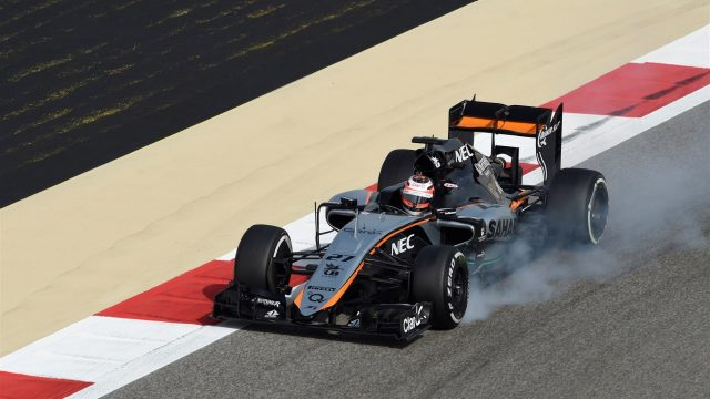 Nico Hulkenberg (GER) Force India VJM08 locks up at Formula One World Championship, Rd4, Bahrain Grand Prix Practice, Bahrain International Circuit, Sakhir, Bahrain, Friday 17 April 2015. &copy&#x3b; Sutton Motorsport Images