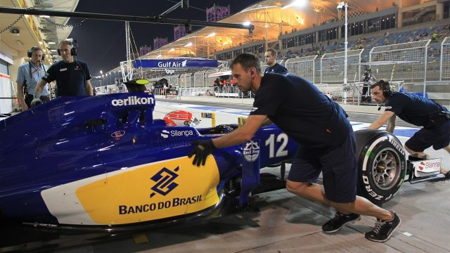 Felipe Nasr (BRA) Sauber C34 at Formula One World Championship, Rd4, Bahrain Grand Prix Practice, Bahrain International Circuit, Sakhir, Bahrain, Friday 17 April 2015. &copy&#x3b; Sutton Motorsport Images