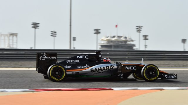 Nico Hulkenberg (GER) Force India VJM08 at Formula One World Championship, Rd4, Bahrain Grand Prix Qualifying, Bahrain International Circuit, Sakhir, Bahrain, Saturday 18  April 2015. &copy&#x3b; Sutton Motorsport Images