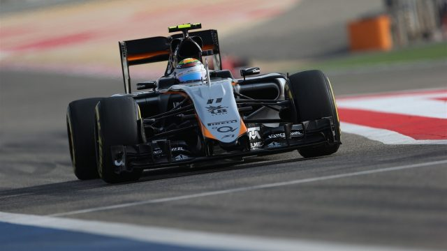 Sergio Perez (MEX) Force India VJM08 at Formula One World Championship, Rd4, Bahrain Grand Prix Qualifying, Bahrain International Circuit, Sakhir, Bahrain, Saturday 18  April 2015. &copy&#x3b; Sutton Motorsport Images