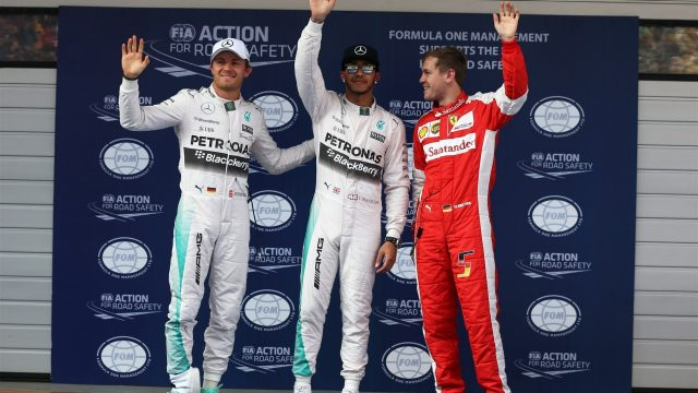 (L to R): Nico Rosberg (GER) Mercedes AMG F1 , pole sitter Lewis Hamilton (GBR) Mercedes AMG F1 and Sebastian Vettel (GER) Ferrari celebrate in parc ferme at Formula One World Championship, Rd3, Chinese Grand Prix, Qualifying, Shanghai, China, Saturday 11 April 2015. &copy&#x3b; Sutton Motorsport Images